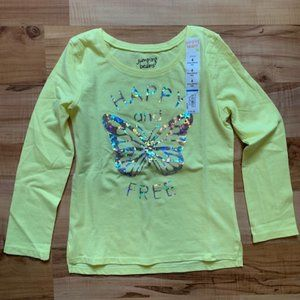 NWT Jumping Bean yellow butterfly long sleeve top